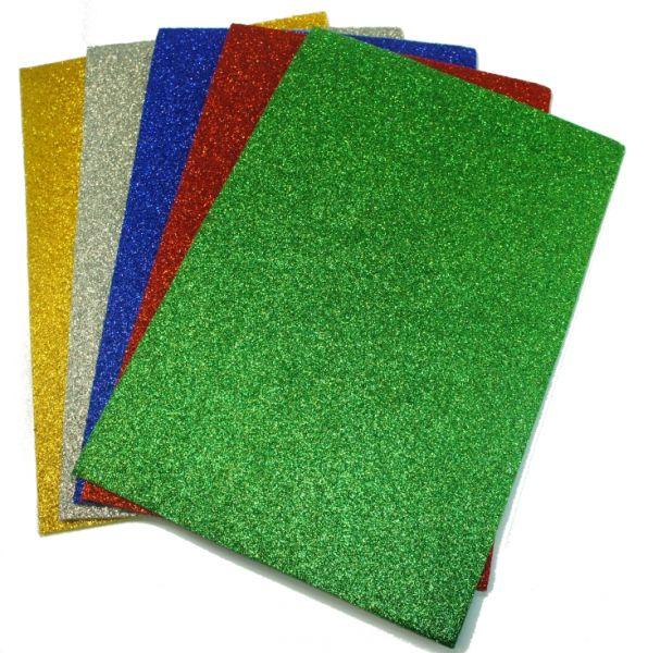 Bastelfilz 20x30 cm, 10 Stück, Glitzer je 2 Stück gold, silber, rot, blau, grün