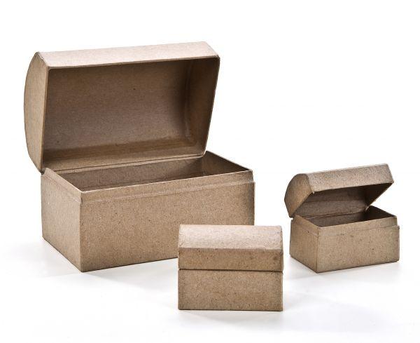 Paper Art Schatztruhe 3´er Set, 1St. 12x8X7cm + 2 St. 6X6X4cm