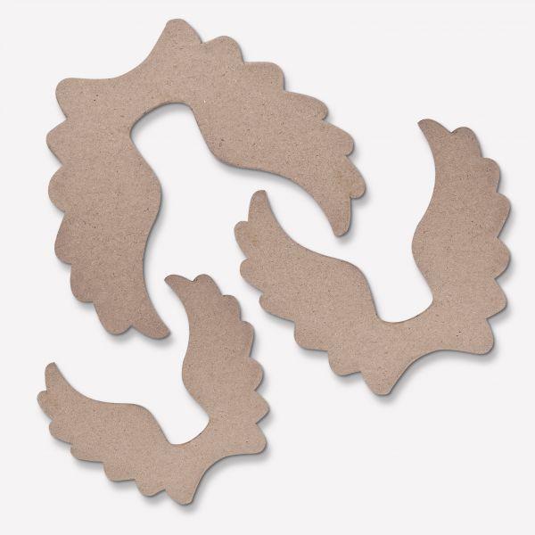 Paper Art Engelsflügel, Set mit 3 Stück, je 1X 15X13cm, 13X11cm und 11X9cm