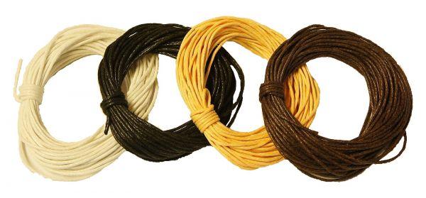 Baumwollkordel gewachst, 1,0 mm farbig sortiert, 4 Stück, je 5 m weiß, schwarz, hellbraun, braun