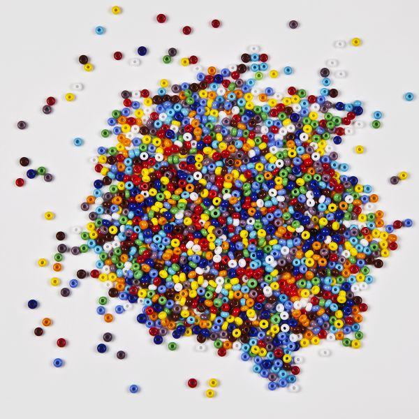 Rocailles 2,6 mm opak, 20 g, farbig sortiert