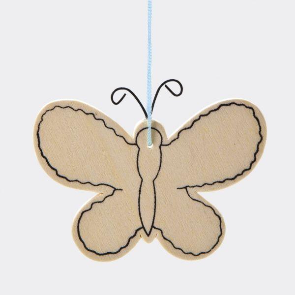Holz Anhänger Schmetterling, 4 Stück ca. 8x8x0,3 cm