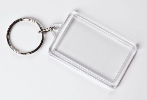 Schlüsselanhänger Acryl, Rechteck, ca. 3,5x5 cm, 10 Stück