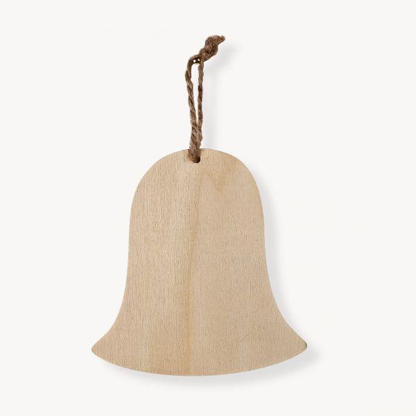 Holz Anhänger Glocke, 9,0X8,5X0,6cm, m. 5cm Kordel, 1 Stück
