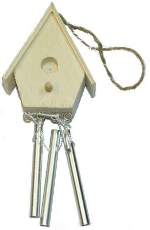 Holz Windklangspiel Vogelhaus ca.14X6X4cm, 1 Stück