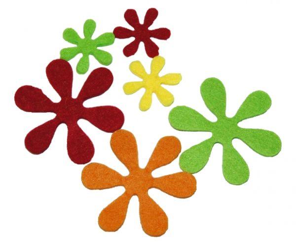 Filz Stanzteile Blumen 3mm, gelb, orange, rot, hellgrün, 200 Stück