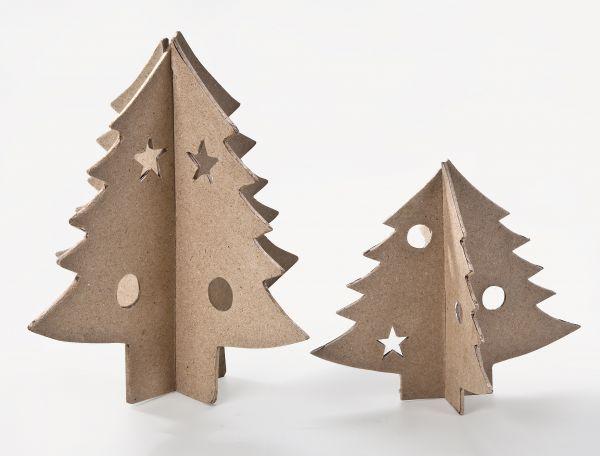 Paper Art Set Tannenbäume 3D, je 1 Stück 12X13,5cm, 17X18,5cm