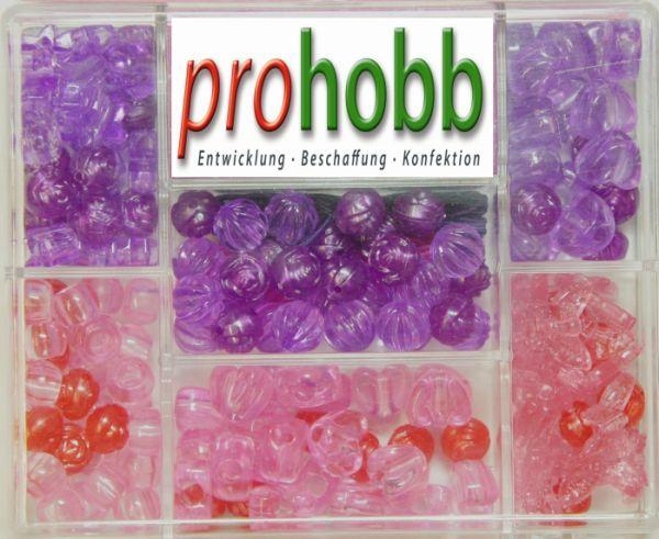 Creative Beads - Set rosa-lila-flieder inkl. Stretchgummi