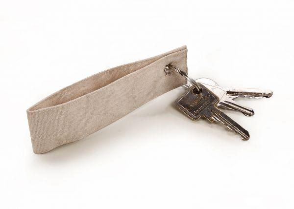Baumwollschlüsselanhänger 12x3 cm, mit Schlüsselring