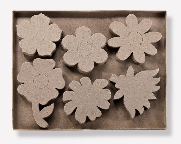 Paper Art 2D Figuren, Blumen, 6 versch. Designs, je 10 Stück, 9-13,5cm