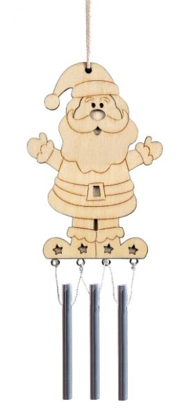 Holz Windklangspiel Weihnachtsmann ca. 10x6 cm, 1 Stück