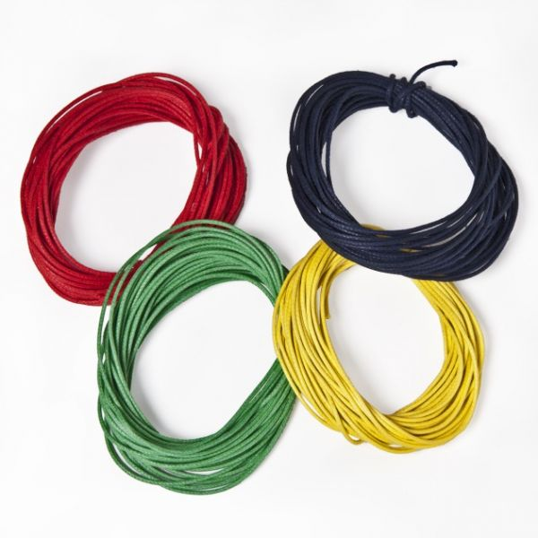 Baumwollkordel gewachst, 1,0 mm farbig sortiert, 4 Stück, je 5 m gelb, rot, grün, blau