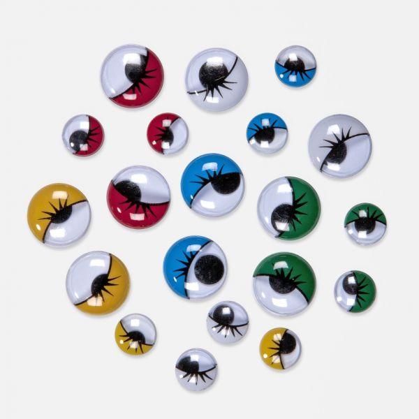 Wackelaugen Mix, Wimpern, rund, 10 mm + 15 mm 100 Stück in den Farben: weiss, gelb, rot, blau, grün