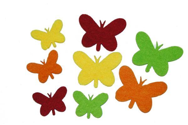 Filz Stanzteile Schmetterlinge 3mm, gelb-orange-rot-hellgrünTöne, 100 Stück 5cm, + 100 Stück 3,5cm)