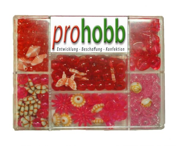 Creative Beads - Set rosa-pink-rot inkl. Stretchgummi