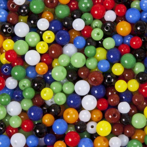 """Acrylperlen """"Candy"""" glänzend250g (125g 8mm + 125g 10mm)farbig sortiert"""