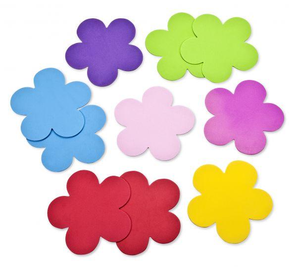 Moosgummi Blüten 11.4x11.1x0.2cm, 8 Stück, farbig sortiert