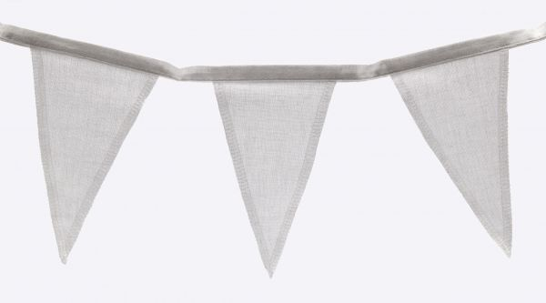 Baumwoll-Wimpelkette weiß, 112 cm, 8 Wimpel