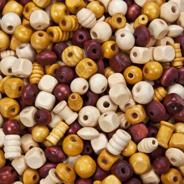 Holzperlen Formenmix, 2. Wahl, naturtöne, 500 g, verschiedene Größen und Formen