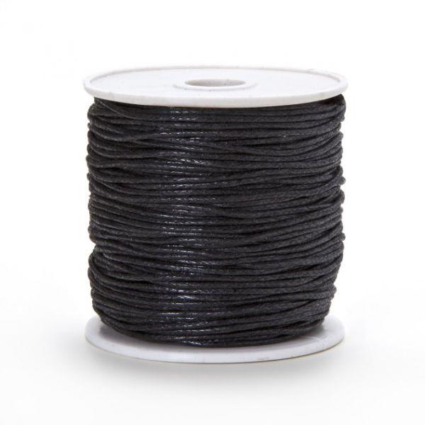 Baumwollkordel gewachst, 1,0 mm schwarz, 25 m