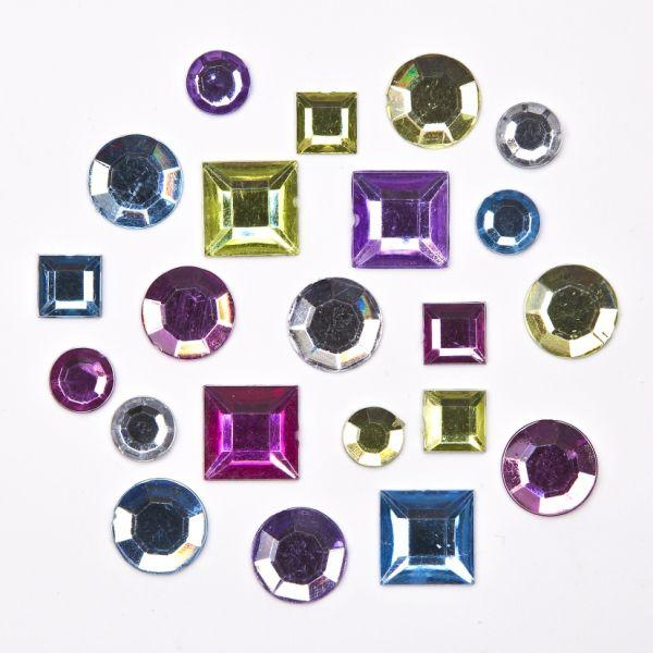 Schmucksteine Quadrat/Rund, verschiedene Größen, Pastelltöne gemischt, 850 Stück