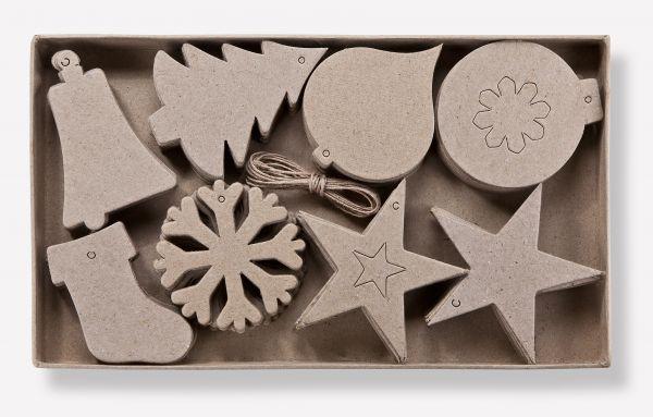 Paper Art 2D Figuren, Weihnachten, 8 versch. Designs, je 10 Stück, 7-10cm