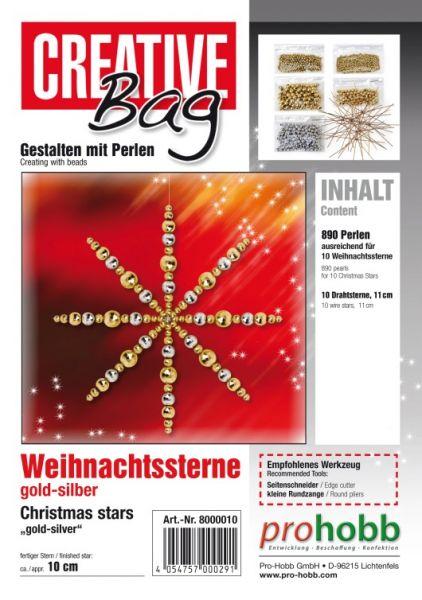 Creativbag Drahtsterne gold-silber für 10 Sterne 11cm
