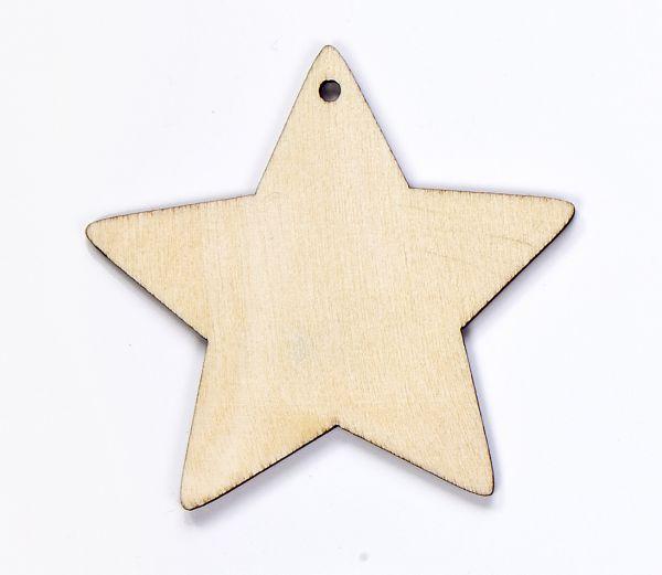 Holz Anhänger Stern, m. Loch und Kordel, 6cm X 1mm, 10 Stück