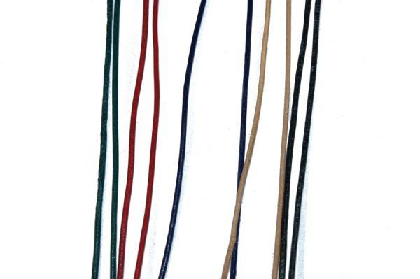 Lederriemen 2 mm farbig sortiert, a 1m, je 2X natur, rot, grün, blau, schwarz
