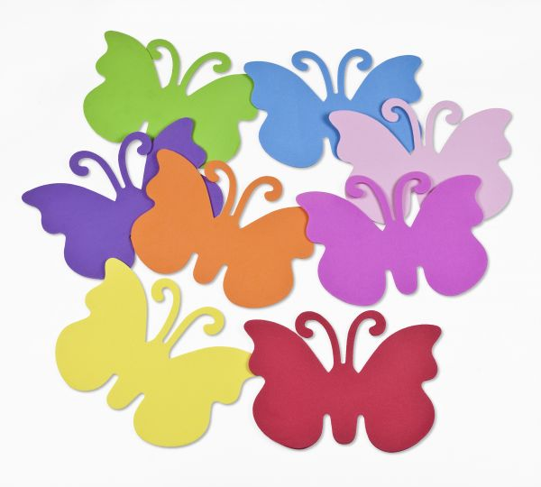 Moosgummi Schmetterlinge 15X10,6X0,2cm, 8 Stück, farbig sortiert