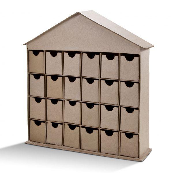 Paper Art Adventskalender Haus, mit 24 Schubladen
