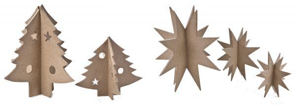 Paper-Art 3D-Sterne und Tannenbäume-Set (insgesamt 5 Stück)