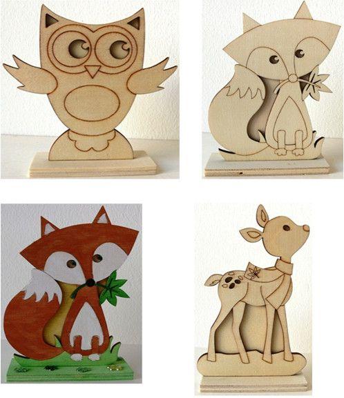 Holz Stehfigur Set je 1 Stück Eule, ca. 12 cm, Fuchs, ca. 15 cm, Reh, ca. 15 cm