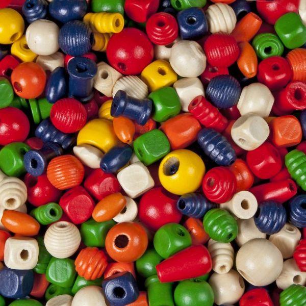 Holzperlen Formenmix, 2. Wahl, farbig sortiert, 500 g, verschiedene Größen und Formen
