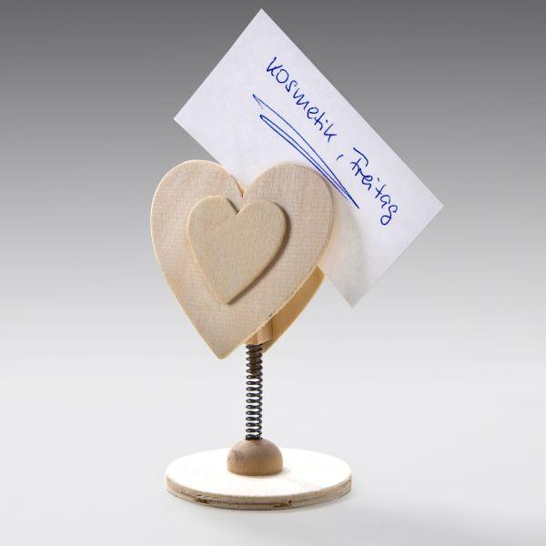 Holz Memohalter Herz, 1 Stück, 12cm hoch