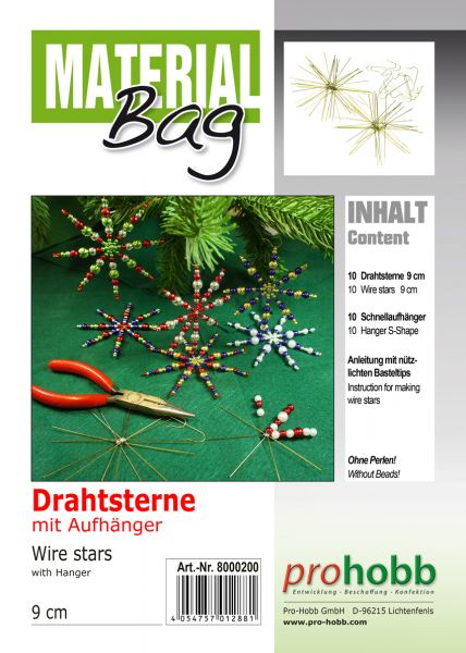 Material-Bag Drahtsterne, 9 cm, 10 Stück mit 10 Stück S-Aufhänger + Anleitung