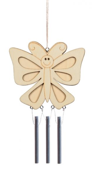 Holz Windklangspiel Schmetterling, ca. 17x10 cm