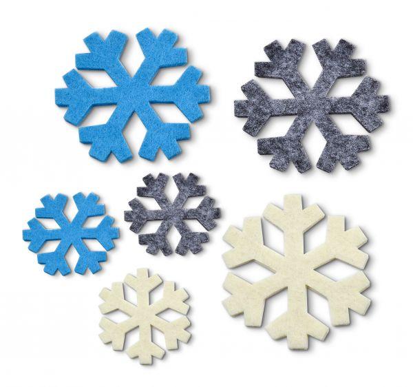 Filz Stanzteile Schneeflocken, 3mm, 141 Stück
