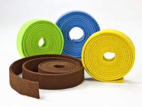 Filzbänder 3mm stark, 2cm breit, 1,5m, gelb, hellgrün, hellblau, braun