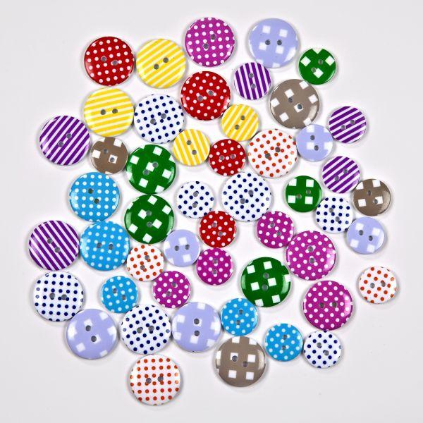 Knöpfe-Mix, Polyester, 15 und 25 mm rund, je 25 St., Muster: Punkte, Linien, Quadrate, bunt gemischt
