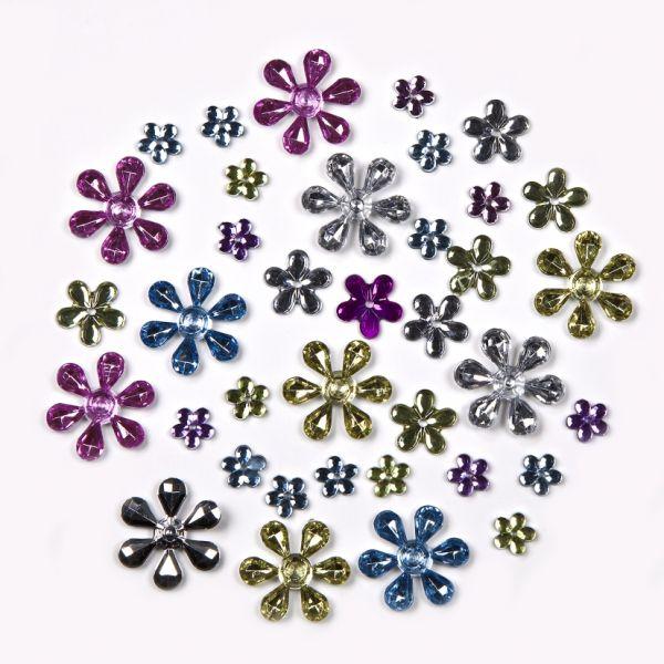 Schmucksteine Blumen, verschiedene Größen, Pastelltöne gemischt, 220 Stück