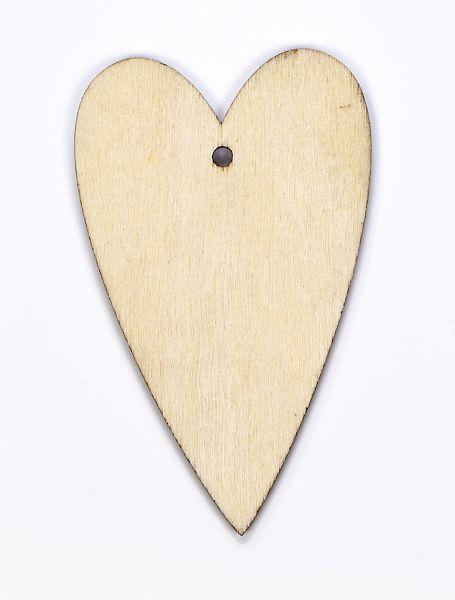 Holz Anhänger Herz, m. Loch und Kordel, 40 X 65 X 1mm, 10 Stück