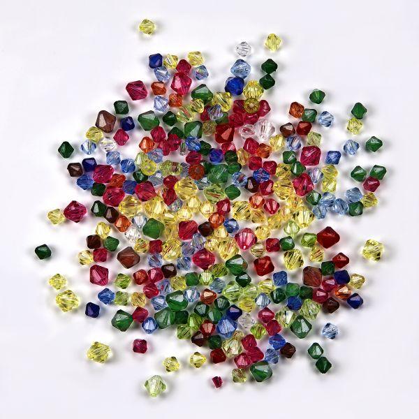 Diamanten, transparent bunt 150 g (6 mm 75 g + 8 mm 75 g)