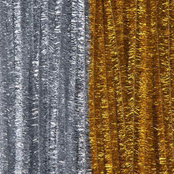 Biegeplüsch Metallic 14X500mm, gold/silber, 100 Stück