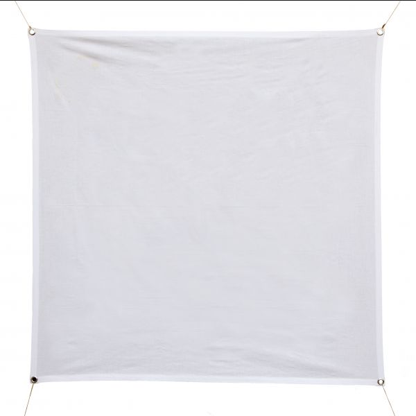 Baumwoll-Banner quadratisch weiß 120x120cm, mit Ösen