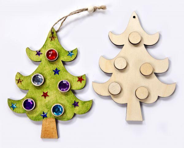 Holz Anhänger 3D Weihnachtsbaum, 14,5X0,5cm, 1 Stück, ohne Deko