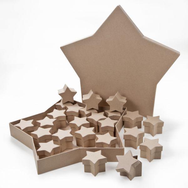 Paper Art - Dose Stern, 25er-Set 24x 7x7x4 cm in Sterndose 39x4,5 cm