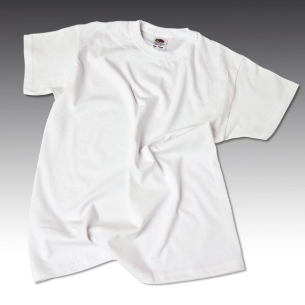 Baumwoll T-Shirt weiss, 160 g/mý, Gr. 116