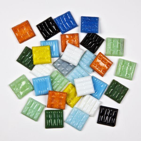 Mosaik Glas, 20x20 mm, 200 g, farbig sortiert