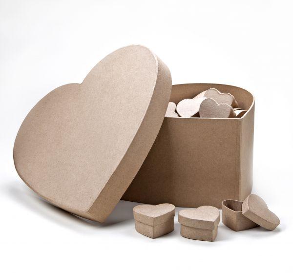 Paper Art Herzdosen Set, 50 St. 5x5x2,5cm in großer Herzdose 25x25x12cm